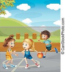 corte basquetebol, tocando, crianças