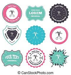corte, cabeleireiras, símbolo., sinal, cabelo, tesouras, icon.