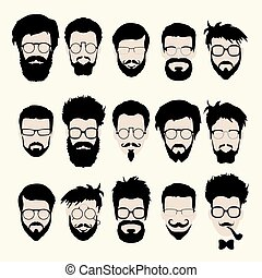 corte cabelo, estilo, jogo, barba, óculos, vetorial, hipster, bigode