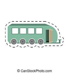 corte, campamento, viaje, transporte, línea, remolque