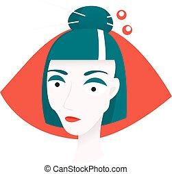corte, cara, pelo, needles., mujer, bollo, japonés, styl., mikado