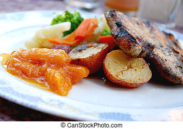 corte, cerdo, cena