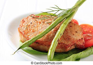 corte, cerdo, marinado