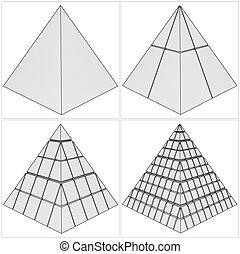 corte, complicado, pirámide, simple