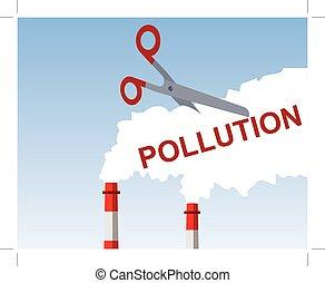 corte, conceito, poluição
