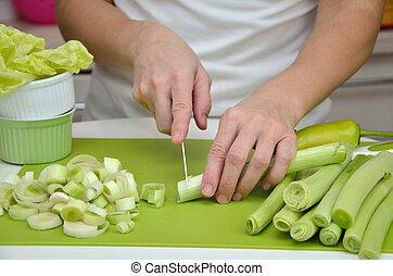 corte, cook's, puerro, manos