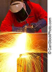 corte, curvas, viga metal, sparks., laranja, soldador