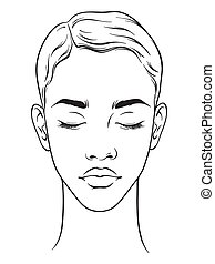 corte de pelo, cortocircuito, norteamericano, mujer africana