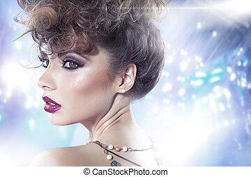 corte de pelo, morena, dama, imaginación, rizado