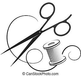corte, desenho, cosendo