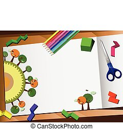 corte, desktop, experiência., papel, ecologia, 3d