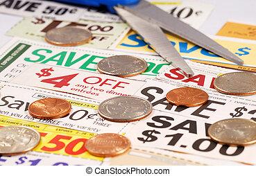 corte, dinero, algunos, arriba, excepto, cupones
