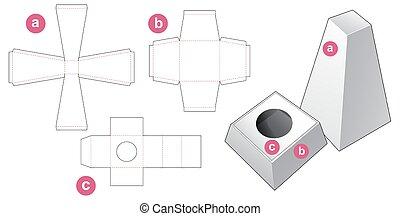 corte, diseño, plantilla, caja, obelisco, dado