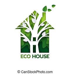 corte, eco, casa, papel, vector, verde, ilustración