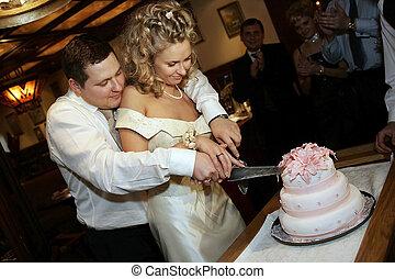 corte, el, torta de la boda
