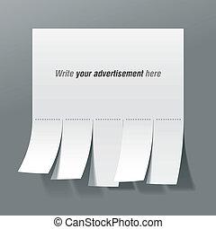 corte, em branco, anúncio, erros