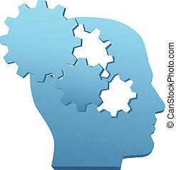 corte, engranaje, mente, innovación, tecnología, pensar, afuera