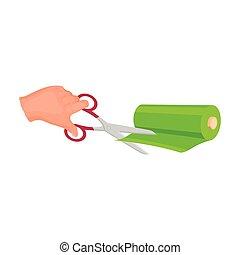 corte, estilo, fabrics., símbolo, cosendo, web., ilustração, equipamento, único, vetorial, tesouras, ícone, caricatura, estoque