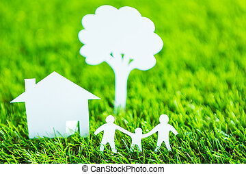 corte, família, primavera, árvore, papel, casa verde,...