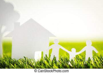 corte, familia, primavera, árbol, papel, verde, casa,...