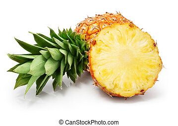 corte, folhas, abacaxi, verde, frutas, fresco