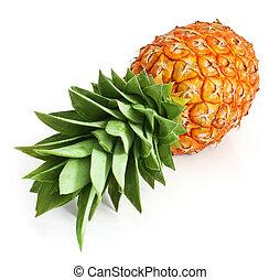 corte, folhas, fruta, verde, abacaxi, fresco