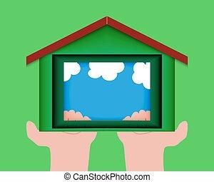 corte, forma, house., idéia, ecológico, papel, construction., saída
