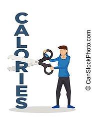 corte, gigante, scissor, peso, calorias, conceito, perda, block., usando, menina