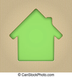 corte, illustration., casa, cardboard., vector, afuera