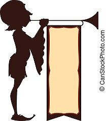 corte, ilustração, trompetista