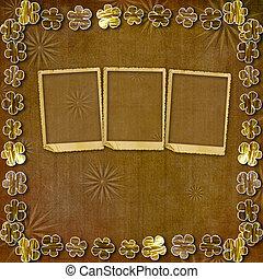 corte instrumentos de crédito, oro, flores, en, resumen, fondo marrón