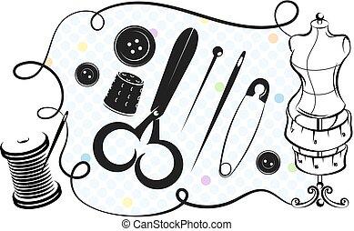 corte, jogo, cosendo
