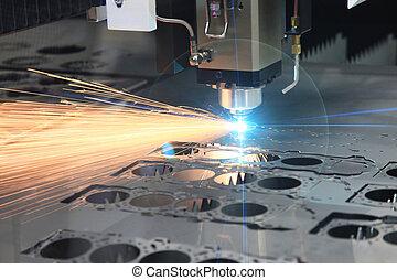 corte, laser, processo, corte, hi-precision, folha
