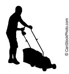 corte, lawnmower, capim, homem, silueta