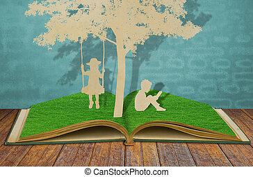 corte, ler, balanço, árvore, crianças, papel, sob, livro
