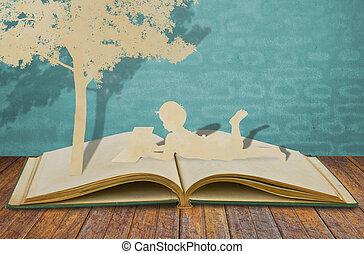 corte, livro, papel, crianças, ler