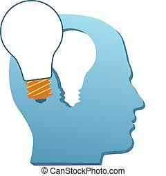 corte, luz, mente, invenção, bulbo, homem, pensar, saída