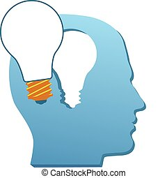 corte, luz, mente, invención, bombilla, hombre, pensar,...