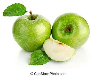 corte, maçã verde, frutas