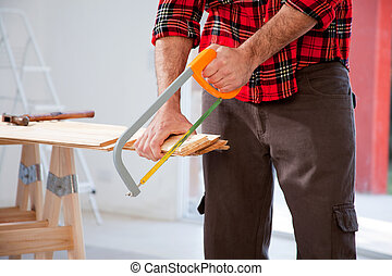 corte, madera, handsaw