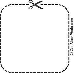 corte, modelo, ícone, linha, tesouras, cupão, cutout