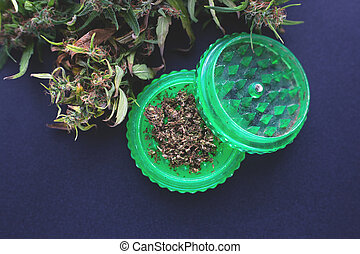 corte, moedor, marijuana, moer, cannabis, verde, fresco