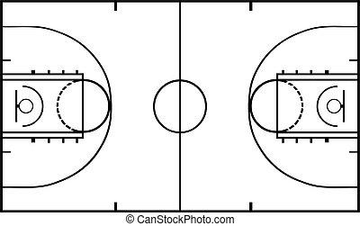 corte pallacanestro, isolato