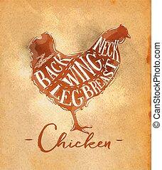 corte, pollo, esquema, arte