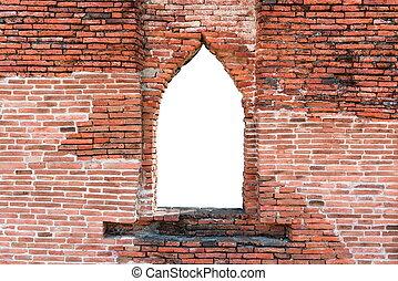 corte, resistido, janela, tijolo, vermelho, saída