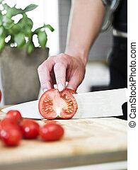 corte, tomates