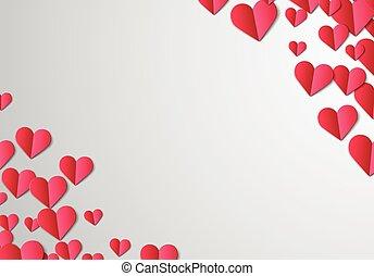 corte, valentines, papel, corazones, día, tarjeta
