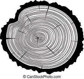corte, vector, de madera