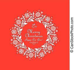 corte, vendimia, saludo, tarjeta de papel, navidad, rojo, ...
