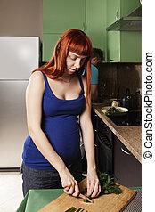corte, verde, embarazada